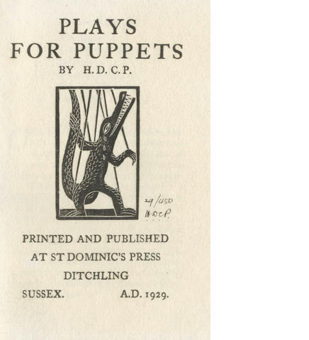 ST. DOMINIC'S PRESS AND PEPLER PEPLER (H.D.C.) Plays for Puppets, NUMBER 29 OF 450 COPIES, 1928; and others, mostly st. domincs press (quantity)