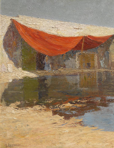 Michalis Economou (Greek, 1888-1933) House with red tent 44.5 x 34 cm.