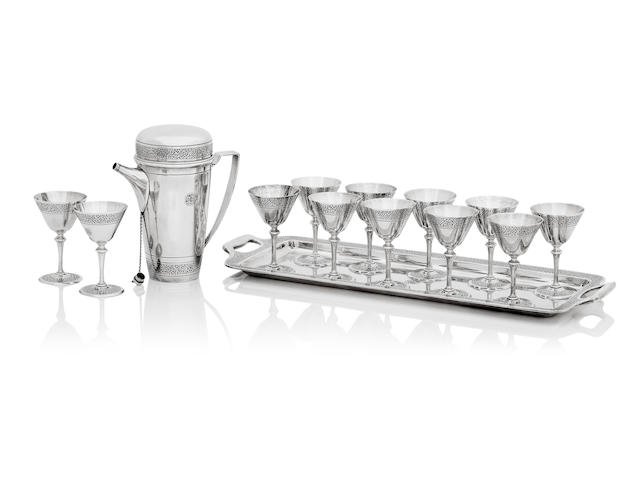 Tiffany; An Art Deco silver cocktail set stamped Tiffany & Co. Makers, Sterling Silver 925-1000