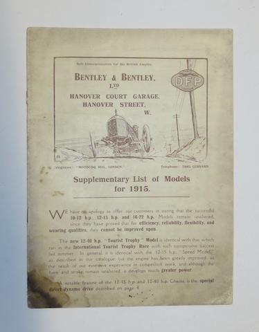 A 1915 Bentley & Bentley Ltd DFP Concessionaires sales brochure,