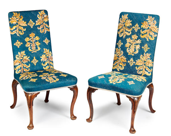 A Pair of George II Style Carved Walnut Needlepoint-Upholstered Side Chairs