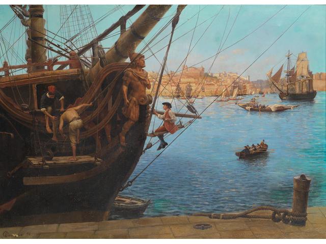 Gustave Bourgain (French, 1855-1921) Gilding the figurehead, Porto