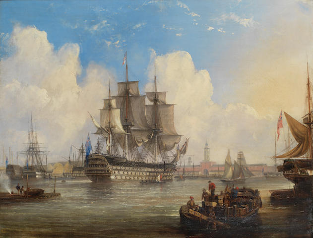 English School, 19th Century H.M.S. St. Vincent in Portsmouth harbour