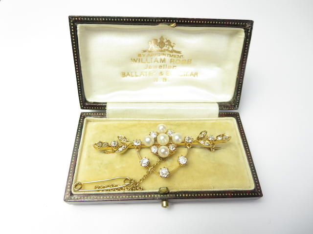 A late Victorian pearl and diamond brooch