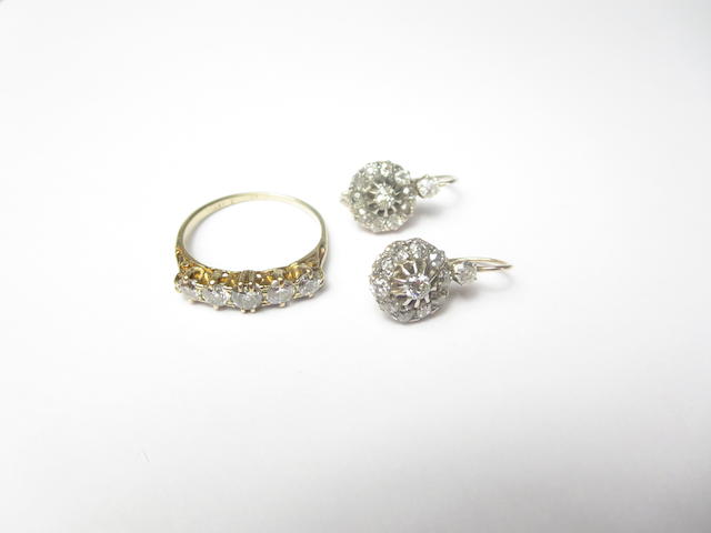 A pair of late Victorian diamond cluster earrings (2)
