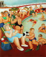 Beryl Cook (British, 1926-2008) The Car Boot Sale; and The Bathing Pool limited edition colour print, the first signed in pencil and numbered 241/650, 460 x 390mm (18 1/8 x 15 3/8in)(I), the second signed in pencil and numbered 717/850, 470 x 370mm (14 1/2 x 14 1/2in)(I)(2)
