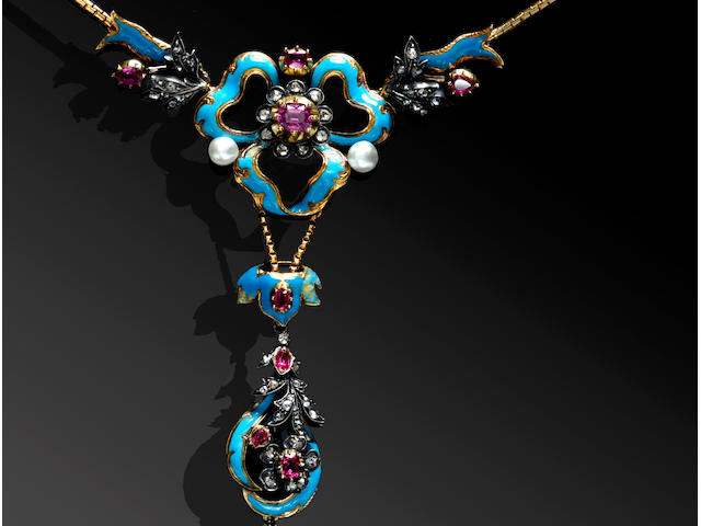 A Victorian ruby, diamond, pearl and enamel necklace