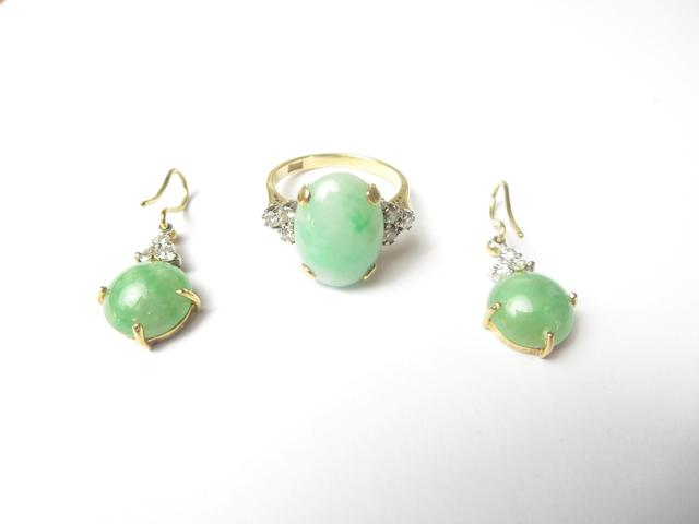 A jadeite and diamond ring and earring suite
