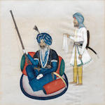 Twelve paintings depicting Sikh and Punjab figures, including Mul Raj, Dina Nath and a Sikh reading the Guru Granth North India, Punjab, circa 1850(12)