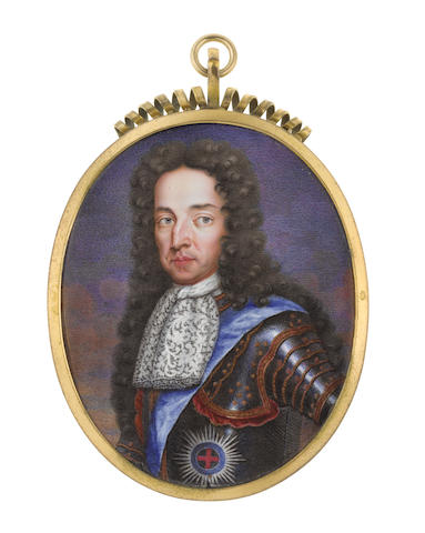 Charles Boit (Swedish, 1663-1727) William III, Prince of Orange (1650-1702), King of England (1689-1702), wearing gilt-studded armour beneath the blue sash and breast star of the Order of the Garter, white lace jabot, his brown wig worn long and curling over his shoulders