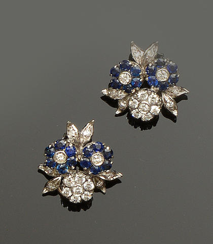A pair of sapphire and diamond three flower earrings