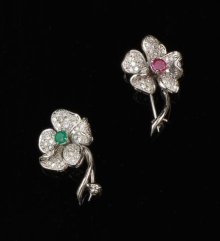 A pair of emerald, ruby and diamond flower brooches (2)