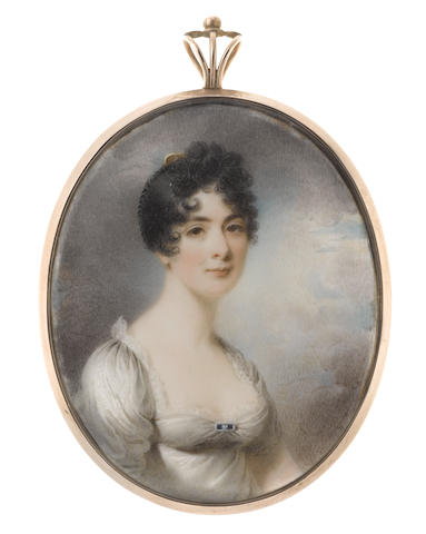 Thomas Hargreaves (British, 1775-1846) Mrs Mary Gaskell (d.1845), wearing white dress edged with lace, sapphire brooch at her corsage, her raven hair braided, curled and upswept with a tortoiseshell comb