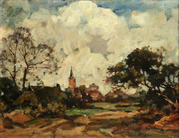 Edzard Koning (Dutch, 1869-1954) Outskirts of a village