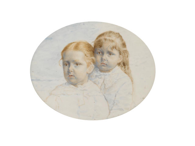 English School, Late 19th Century An unfinished miniature portraying two Young Girls seated and wearing coats, the eldest also wearing a lace collar