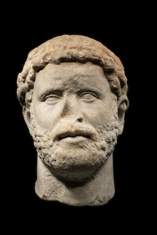 A Roman marble portrait head of the Emperor Hadrian