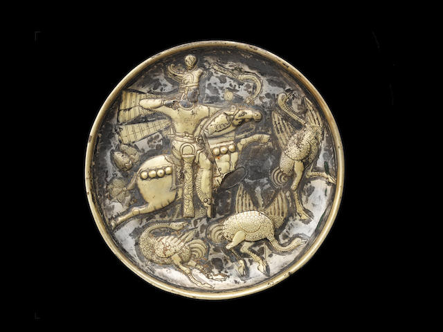 A Sasanian silver-gilt royal hunting scene plate