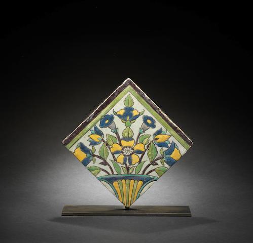 A Safavid cuerda seca pottery Tile Persia, 17th Century