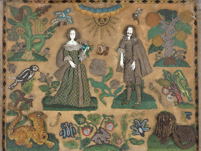 A Charles II beadwork and silk picture