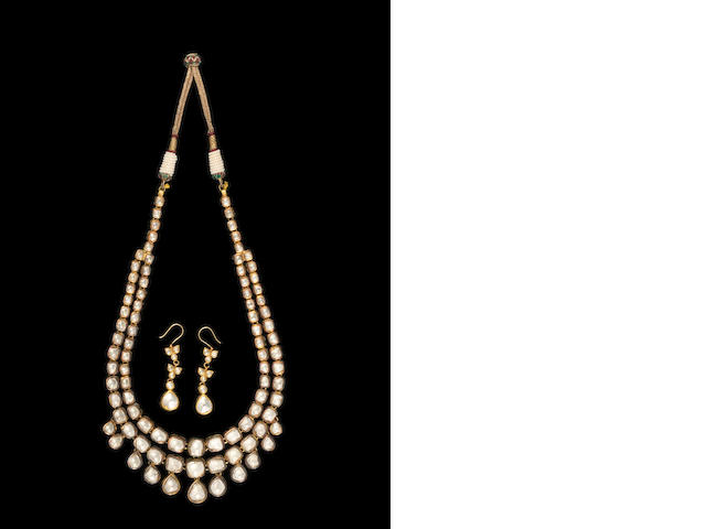 A Jaipur diamond-set enamelled gold Necklace and pendent Earrings Rajasthan (3)