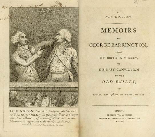 TRIALS - AUSTRALIA [BARRINGTON (GEORGE)] Memoirs of George Barrington; From His Birth in MDCCLV to His Last Conviction at the Old Bailey, 1790; and another (2)