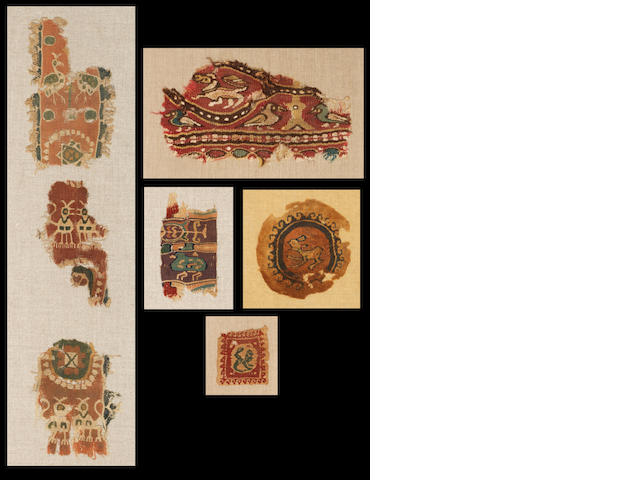 Five Coptic textile fragments of animals and birds 5