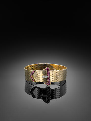 A mid 20th century ruby and diamond bracelet, by Cartier