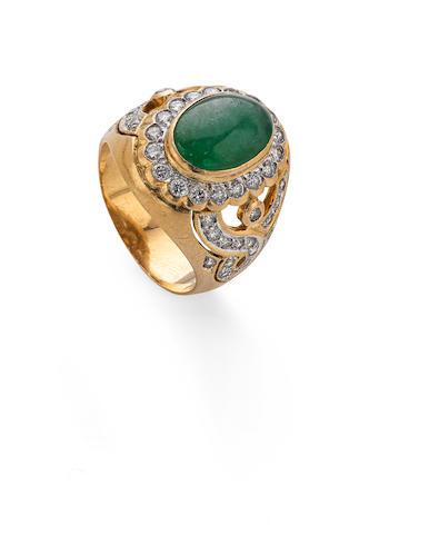 A jadeite and diamond dress ring