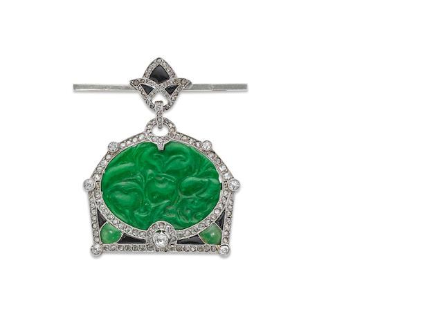An Art Deco jadeite and diamond jewel, by Boucheron