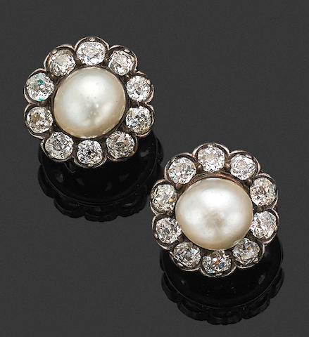 A pair of late Victorian pearl and diamond earrings