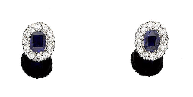 A pair of sapphire and diamond cluster earrings