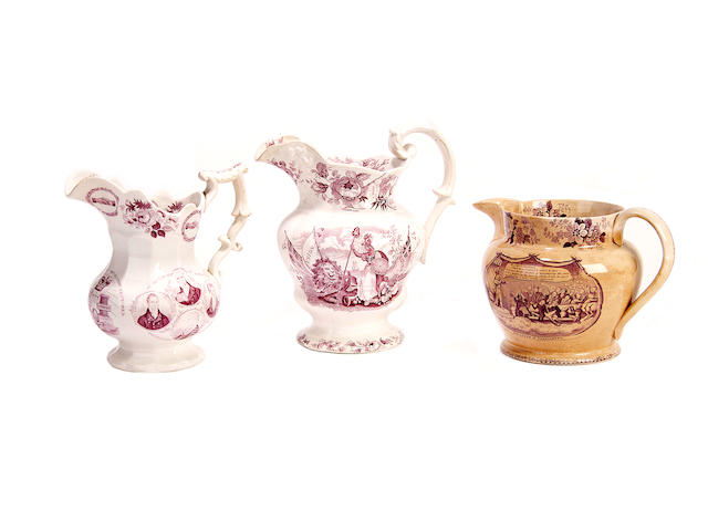 Reform Bill: three printed jugs, circa 1832