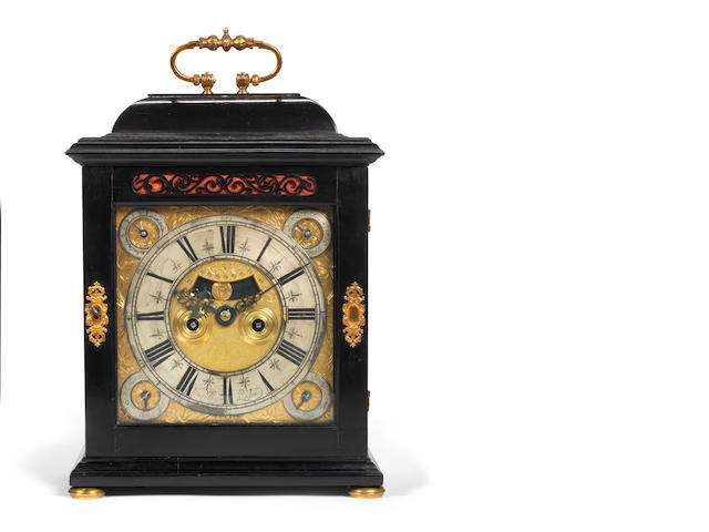 A rare late 17th century quarter repeating ebony table clock with four subsidiary dials Henry Massy, London