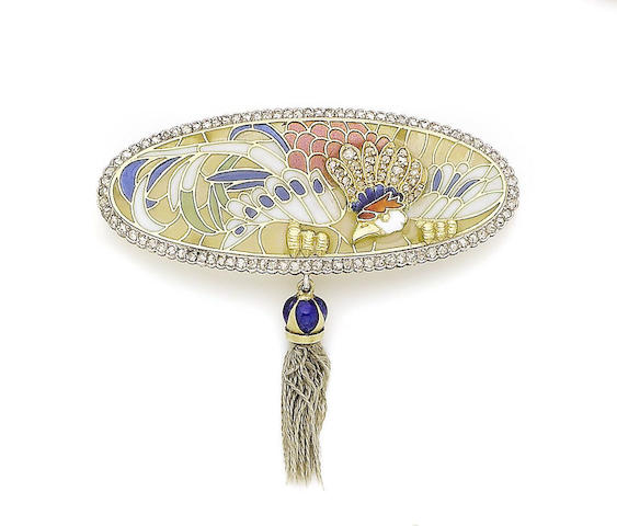 An art nouveau plique-à-jour enamel, enamel and diamond-set brooch, attributed to Carreras,
