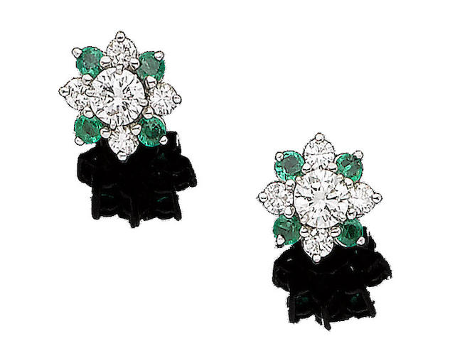 A pair of emerald and diamond earstuds