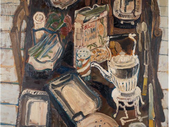 John Bratby R.A. (British, 1928-1992) Kitchen still life with sculpture