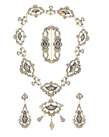 A gold and enamel parure, (4) (illustrated inside the back cover)