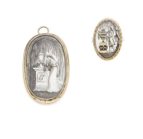 A late 18th century mourning brooch/pendant and ring (2)