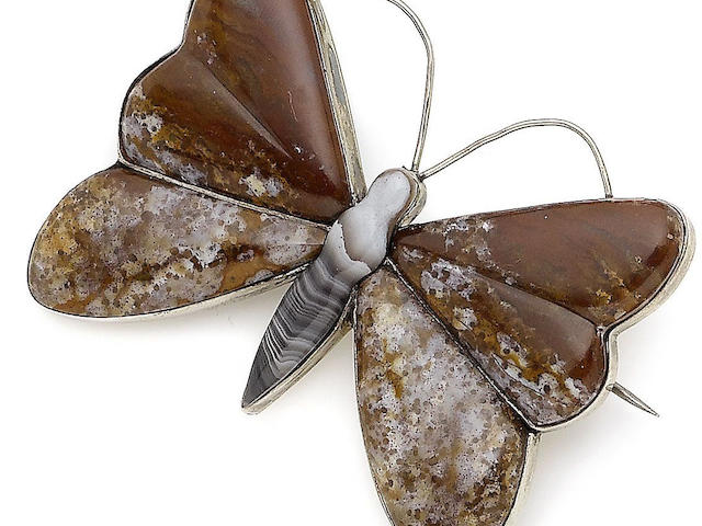 An agate butterfly brooch,