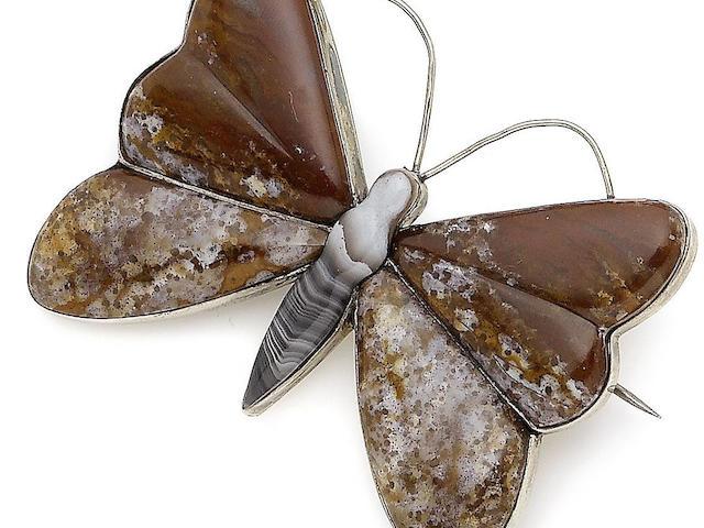 An agate butterfly brooch,