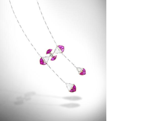 A ruby and diamond négligée pendant necklace,