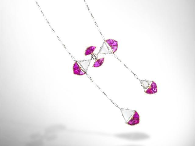 A ruby and diamond négligée pendant necklace,