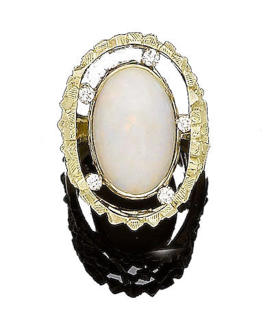 A gold, opal and diamond dress ring, by John Donald,