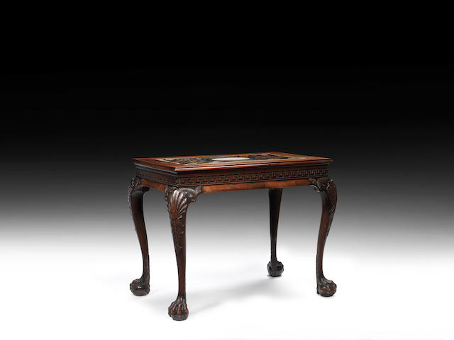A George II carved mahogany and polychrome scagliola table, the top attributable to Petrus Antonius De Paulinus the base in the manner of Benjamin Goodison