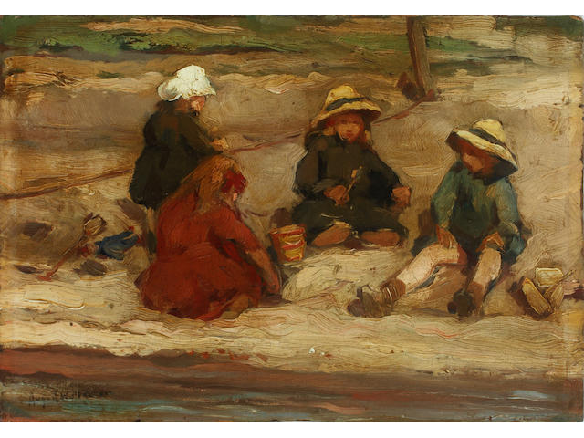 August Willem van Voorden (Dutch, 1881-1921) Children making sandcastles