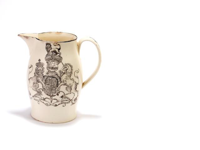 George IV as Prince of Wales: a Liverpool creamware jug, circa 1785-90