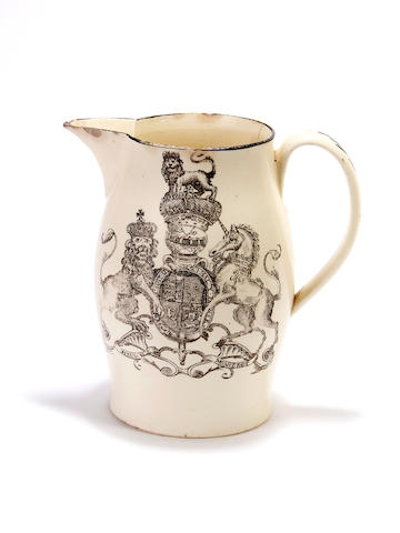 George IV as Prince of Wales: a Liverpool creamware jug, circa 1785-90