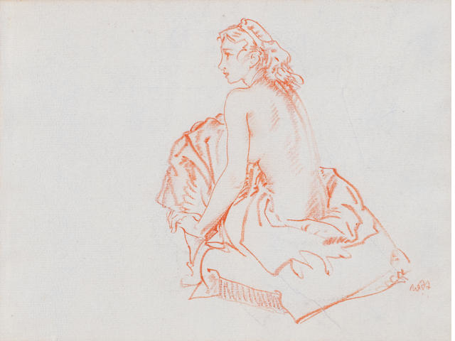 Sir William Russell Flint, RA, PRWS (British, 1880-1969) Seated Nude 16.5 x 21.5 cm. (6 1/2 x 8 7/16 in.)