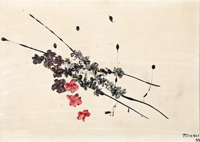Thanos Tsingos (Greek, 1914-1965) Fleurs sur fond blanc 81 x 116 cm.