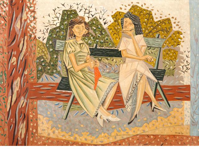 Nikos Hadjikyriakos-Ghika (Greek, 1906-1994) On the bench, 1939 54 x 73 cm.